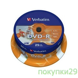 Диск Verbatim   Диск DVD-R  4,7Gb 16x Cake Box Printable (25шт) (43538)