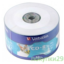 Диск Verbatim  Диски CD-R  80min, 700mb, 52x Shrink/50 Ink Print 43794