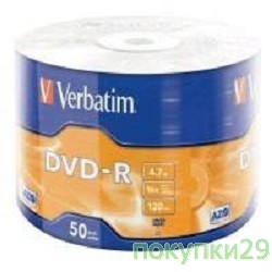 Диск Verbatim  Диски DVD-R  4.7Gb, 16-x Data Life (50 шт) (43791)