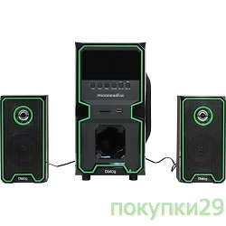 Колонки Dialog Progressive AP-222B BLACK - акустические колонки 2.1, 30W+2*10W RMS, Bluetooth, USB+SD reader