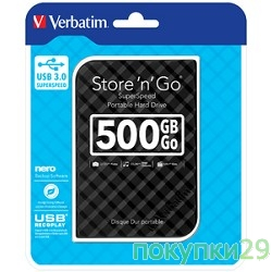 "носители информации Verbatim Portable HDD 500Gb Store'n'Go USB3.0, 2.5""53193 Black"