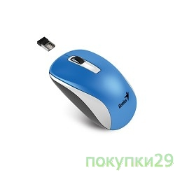 Мышь Genius NX-7010 WH+Blue Metallic style. 2.4Ghz wireless BlueEye mouse 1200 dpi powerful BlueEye AA x 1