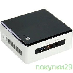 Компьютер Intel NUC BOXNUC5I7RYH Intel Core i7 5557U, 3.4 GHz,2xDDR3 SODIMM (up to 1600MHz/16Gb), VGA Intel HD Graphics 6100 (miniDP+miniHDMI), 4xUSB3.0, 1x m.2 SSD, 1x2.5HDD, GBL, WiFi+BT, noCR, Silver/Black