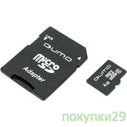 Карта памяти  Micro SecureDigital 4Gb QUMO QM4GMICSDHC6