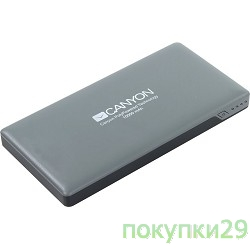 аксессуары CANYON CNS-TPBP10DG Power bank 10000mAh (Color: Dark Gray), bulit in Lithium Polymer Battery