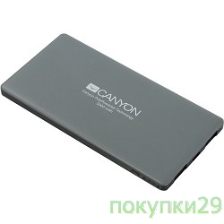 аксессуары CANYON CNS-TPBP5DG Power bank 5000mAh (Color: Dark Gray), bulit-in Lithium Polymer Battery