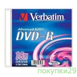 Диск 43547 Диски DVD-R Verbatim 16-x, 4.7 Gb, (Slim Case)