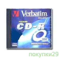 Диск 43347 Диски CD-R  Verbatim 700Mb 80 min 48-х/52-х (Slim case)