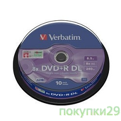Диск 43666 Диски DVD+R Verbatim, 8x, 8.5Gb Double Layer, 10шт, Cake Box