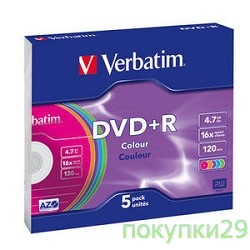 Диск 43556 Диски Verbatim DVD+R 16х, 4.7Gb, Colour (Slim Case, 5шт.)