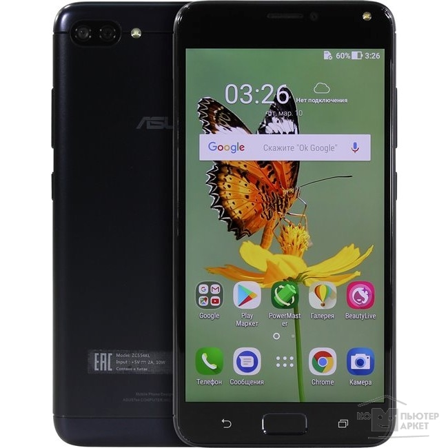 "Смартфон ASUS ZC554KL-4A008RU 5.5""HD/Qualcomm MSM8917/3GB/32GB/Android 7.0/WiFi/BT/LTE/2Sim Nano/Metal Black 90AX00I1-M00080"