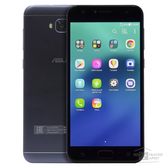 "Смартфон ASUS ZD553KL-5A102RU 5.5""HD/Qualcomm MSM8937/4GB/64GB/Android 7.0/WiFi/BT/LTE/Dual Sim/Black 90AX00L1-M01490"