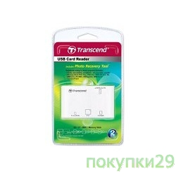 Устройство считывания USB 2.0 Multi-Card Reader P8 All in 1 Transcend TS-RDP8W White