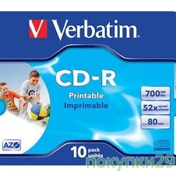Диск 43325 Диски CD-R Verbatim Printable Surface, 700Mb 80 min 52-x (Jewel Case, 10шт.)