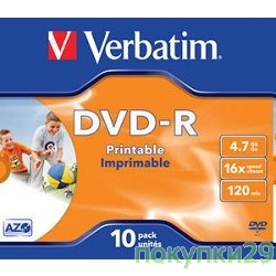 Диск 43521 Диски DVD-R Verbatim 16-x, 4.7 Gb, Printable (Jewel Case, 10шт.)
