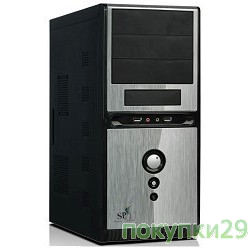 Корпус MidiTower QoRi-3336 A11 (черно-серый)  (450W) USB/Audio/SATA ATX (front panel metall)