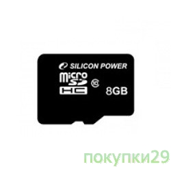 Карта памяти  Micro SecureDigital 8Gb  Silicon Power SDHC Class 10 (SP008GBSTH010V10-SP)