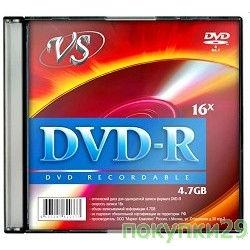 Диск  Диски VS DVD-R 4.7Gb, 16x, Slim Case 5шт.