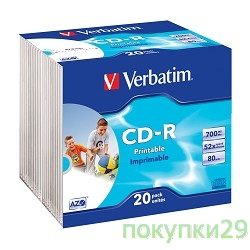Диск 43424  VERBATIM CD-R 80 52x DL+ SL/20 Photo Print  (Slim case)