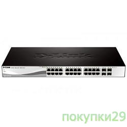 Сетевое оборудование D-Link DGS-1210-28P/B1A Gigabit Smart Switch with 24 10/100/1000Base-T PoE ports and 4 Gigabit MiniGBIC (SFP) ports