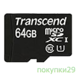 Карта памяти  Micro SecureDigital 64Gb  Transcend Class 10 (TS64GUSDU1) UHS-I