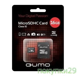 Карта памяти  Micro SecureDigital 16Gb  QUMO (QM16GMICSDHC10U1) CL10 UHS-I
